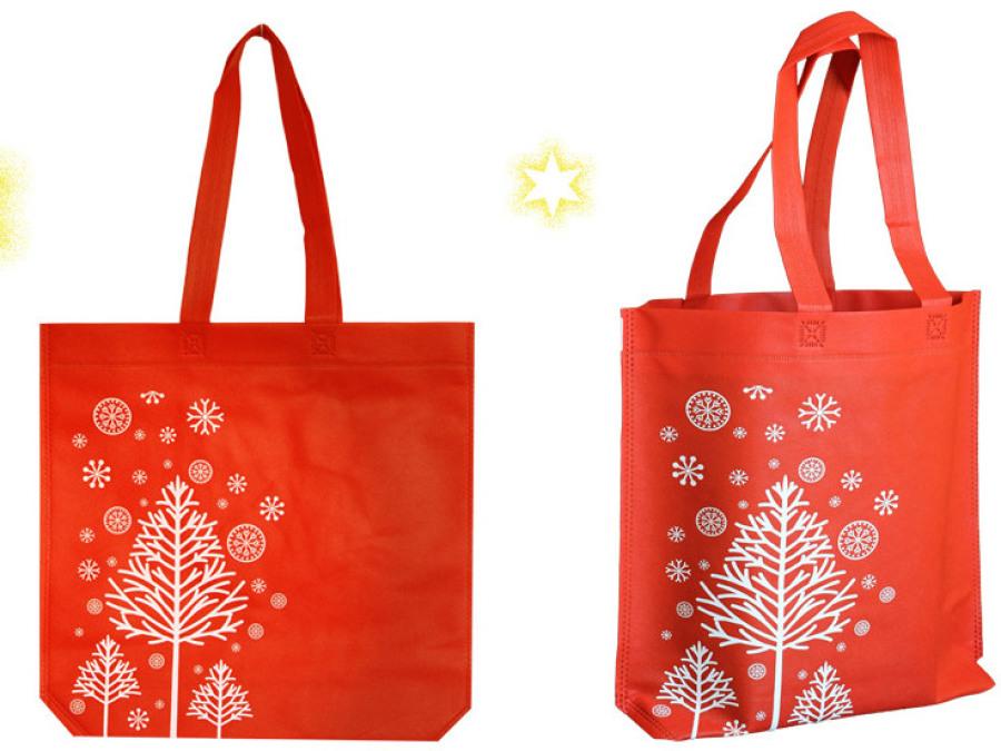 Weihnachtstasche aus PP Polypropylen Stoff mit langen Griffen in rot mit Weihnachtsmotiv