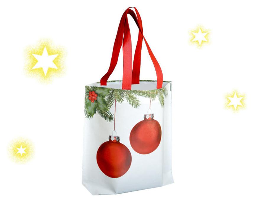 Tragetaschen mit Weihnachtskugel Christbaumkugel Kugel Tannenbaumkungel mit Laminierung und lagen Griffen Ideal als Weihnachtstasche oder Weihnachtsbeutel