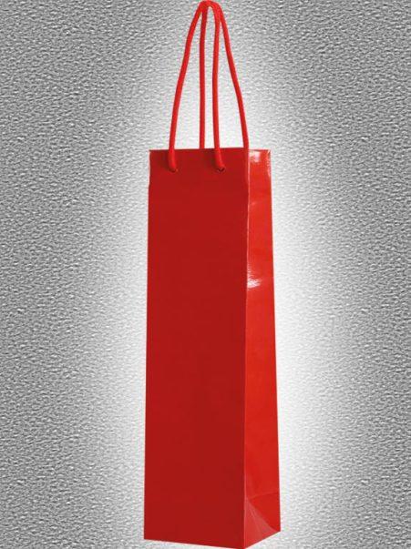 rote Tragetaschen für Flaschen aus Papier mit Kordel in glanz Lackoptik