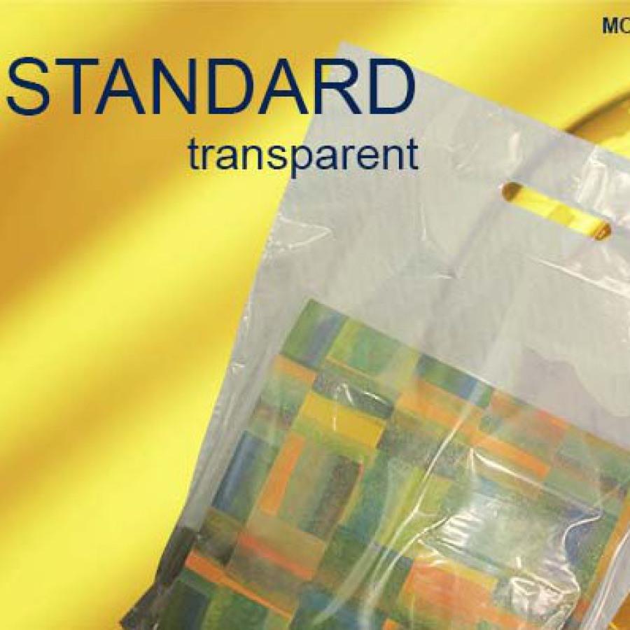 Tragetaschen aus Kunststoff in transparent mit Griffloch
