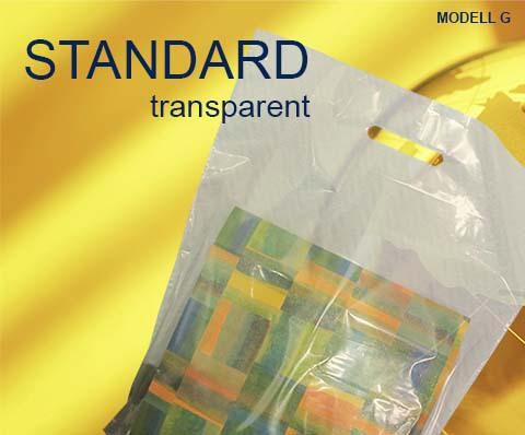 Tragetaschen aus Kunststoff in transparent mit Griffloch sind transparente Plastiktüten oder auch Folientaschen transparent