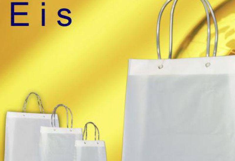 Kunststoff Taschen milchig transparent transluzent mit eingeknoteten Schlauchkordeln in transparent