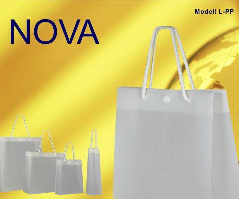 Exklusive Kunststofftaschen weiß transparent mit Druckknopf Druckverschluss und Kordeln aus Baumwolle in Taschenfarbe