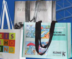Mehrwegtaschen aus PP Woven mit angenähten Bänder bedruckt im Tiefdruck die idealen Werbetaschen