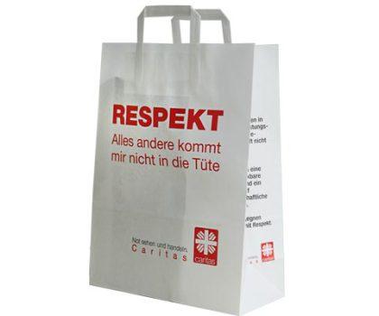Papiertaschen mit Innenflachhenkel eingeklebten Innen Flachhenkel