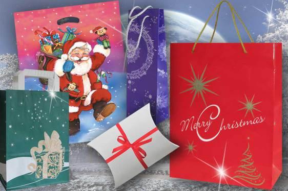 Tragetaschen Weihnachten verschiedene Tragetaschen aus Papier und Folie PE Kunststoff mit Weihnachtsmotiv