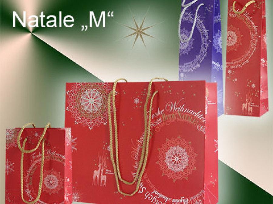 Weihnachtstaschen in rot mit Weihnachtsgrüßen und Kordel in gold
