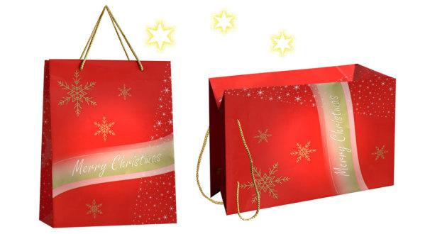 exklusive weihnachstasche Noel in rot mit goldenen sternen und Kordel bedruckt mit Weihnachtsgruß Merry Christmas und Weihnachts Sternen
