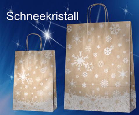 Weihnachtstasche aus braunem Papier mit weißen Schneekristallen