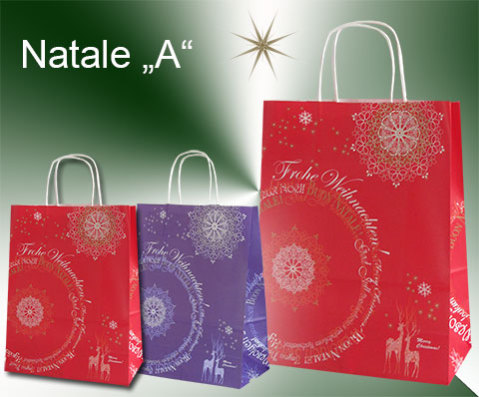 Weihnachtstaschen aus Papier mit Weihnachsgüßen, Weihnachtsspruch in rot oder violett mit Papierkordeln in weiß