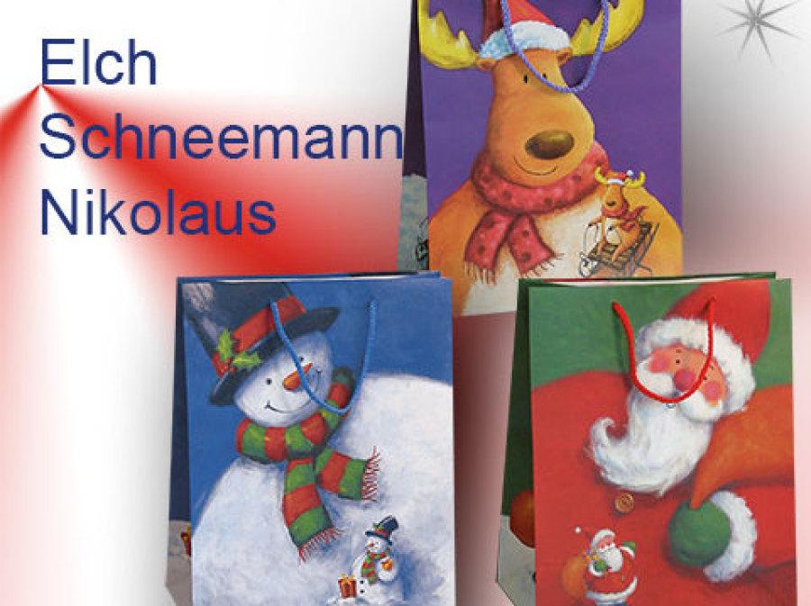 Geschenktaschen mit Schneemann, Nikolaus, Elch und schneemann mit Kordel