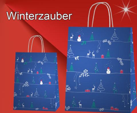 Weihnachtstüten Winterzeit blau mit schneemann, rentier, tannenbaum
