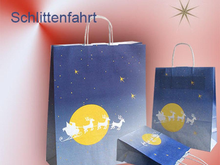 Tragetaschen Weihnachten mit Papierkordel aus Papier mit rentieren und nikolaus mit schlitten