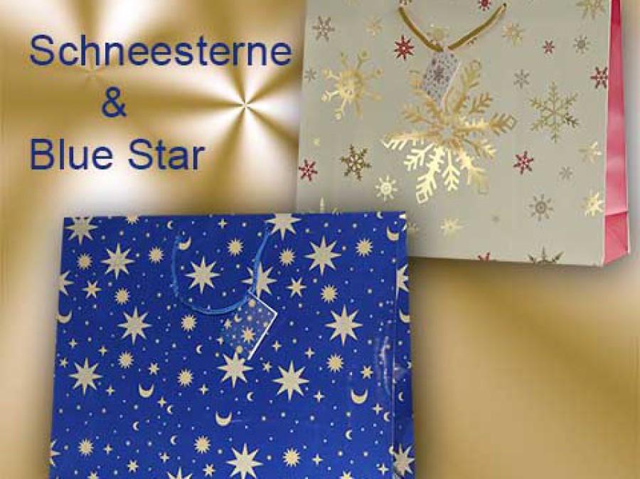 Weihnachtstragetaschen blau mit mond und sterne in gelb, Tragetasche in geige mit gold glänzenden Sternen uns Schneesternen
