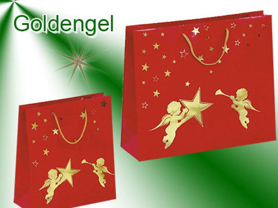 Weihnachtstaschen in rot mit goldenem Engel, glänzende Optik, als Griffe wurden Kordeln in gold verwendet