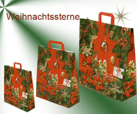 Weihnachtstaschen aus Papier bedruckt mit Weihnachtssternen, tannenzeigen, und Weihnachtskugeln