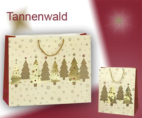 Tragetaschen aus Papier mit Kordel bedruckt mit glitzerndem Tannenwald und Griffe in gold