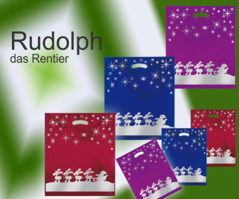 Weihnachtstüten Tropic Rentier aus PE Folie Kunststoff mit Griffloch in dem Farben rot, blau und violett mit rentier in silber