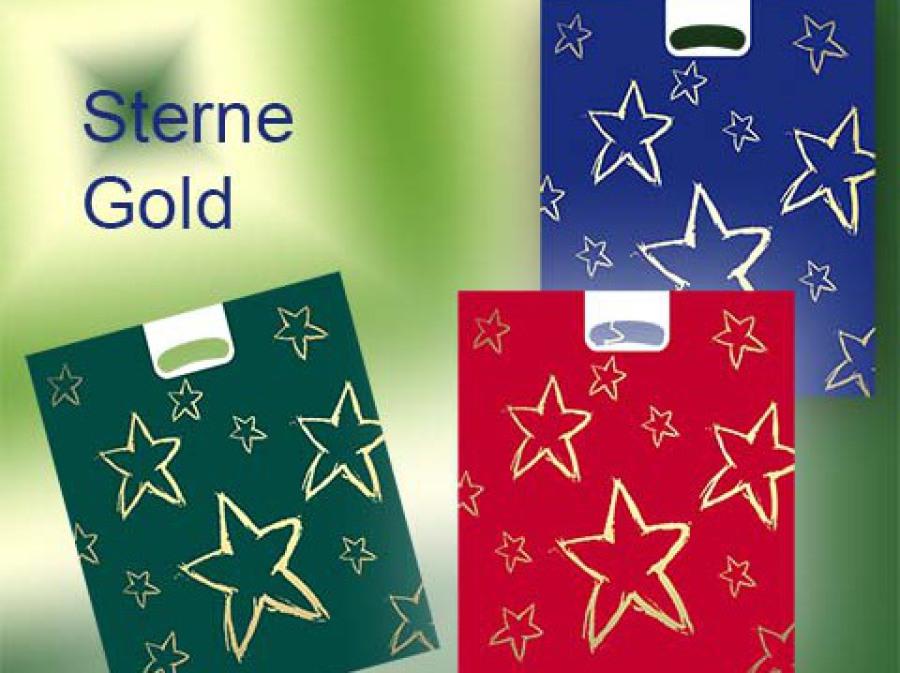 Weihnachtstüte in blau, rot oder grün mit glifflich und stern in gold