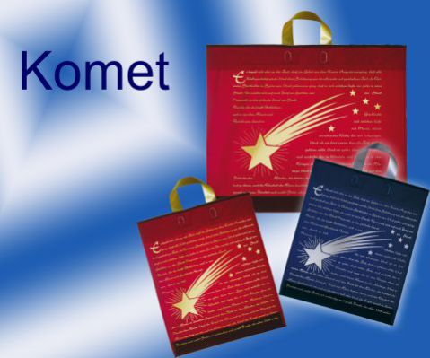 Tragetaschen Weihnachten in Farbe kastanie, rot, blau mit einem Komet und Weihnachtsgruß in gold bzw. silber bedruckt