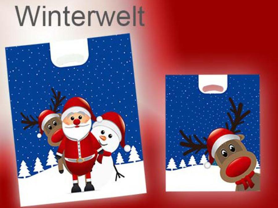 Tragetaschen Weihnachten - Weihnachtstasche mit Rentier und Nikolaus im Schnee Motiv Winterwelt