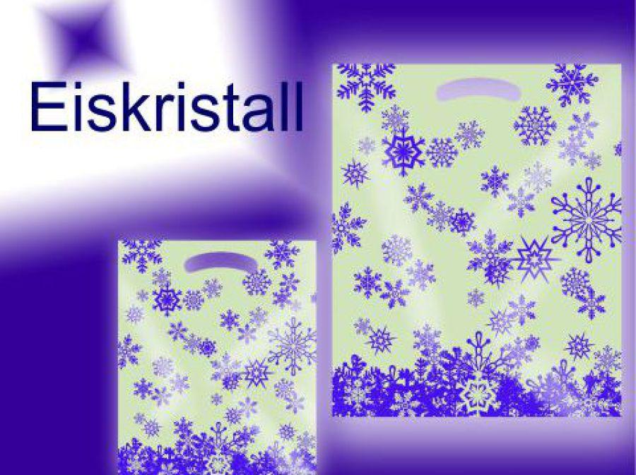 Weihnachtstüte Perlmutt mit Schnee und Eis Kristallen aus Folie Kunstoff als griff wurde ein ausgestanztes Griffloch eingesetzt