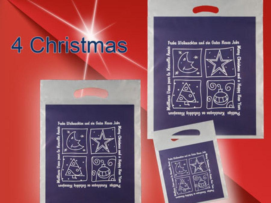 Weihnachtstasche 4 Christmas mit Griffloch bedruckt mit einem Weihnachs mond - stern - Baum- und kugel in blau auf transparenter Tasche