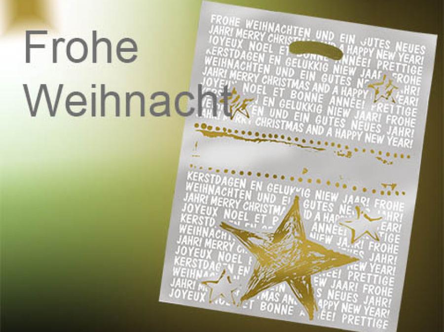 Weihnachtstüte in milchig gefrostet transparent mit Griffloch goldenem Stern und weißen Weihnachtswünschen 40 x 50 cm