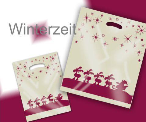 Weihnachtstüten Xmas Special Edition Perlmutt mit Sternen, Rentiere und Weihnachtsschlitten in bordeaux mit Griffloch