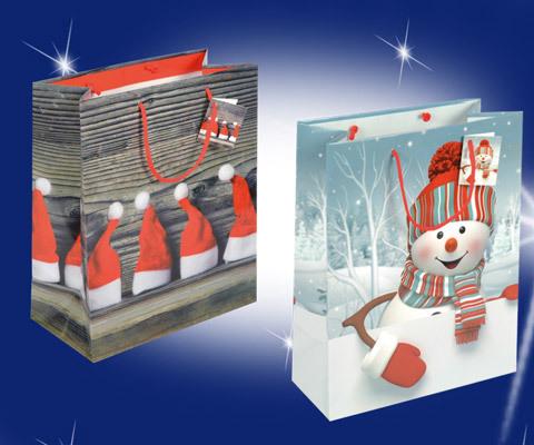 Weihnachtstasche mit Schneemann oder Zipfelmütze - Nikolaus mütze mit roten PP Kordeln