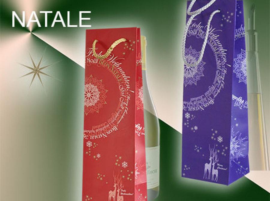 Flaschentaschen Weihnachten mit Weihnachtsmotiv in rot und violett mit Weihnachtsspruch von Leicht Verpackungen