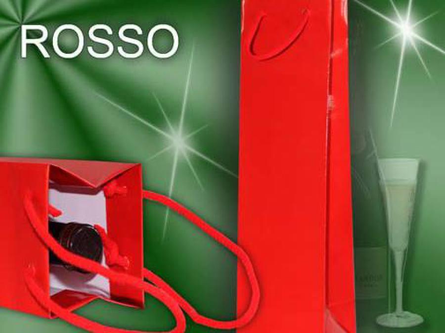 rote Flaschentaschen mit Kordel als Weihnachtstasche