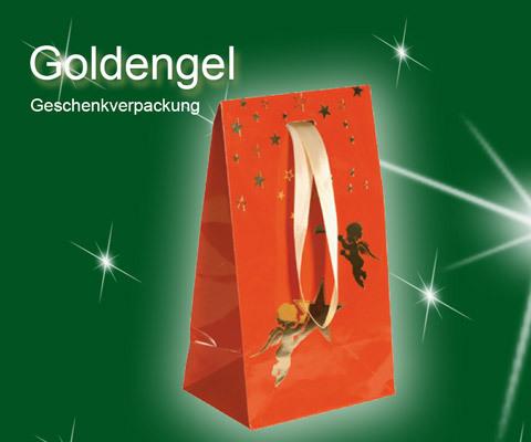 Geschenktaschen Weihanchten mit goldenen steren und engel Goldengel mit Klappe uns Satinband