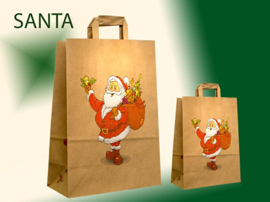 Papiertüten Papiertaschen günstig kaufen in braun mit gefalteten Papiergriffen mit einem Weihnachtsamm der einen Sack trägt bedruckt