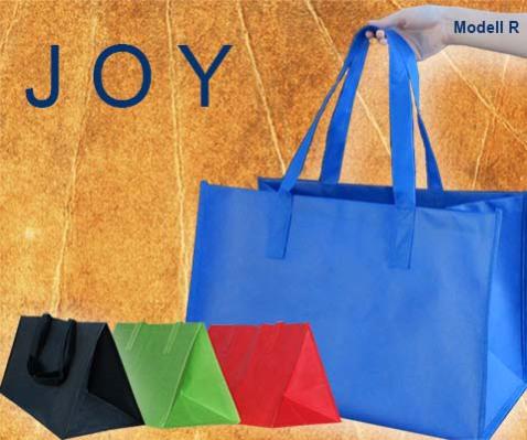 große Tragetaschen aus PP Non woven mit schulterlangen Griffen in Taschenfarbe, in den Farben rot blau grün schwarz und orange von Leicht Verpackungen
