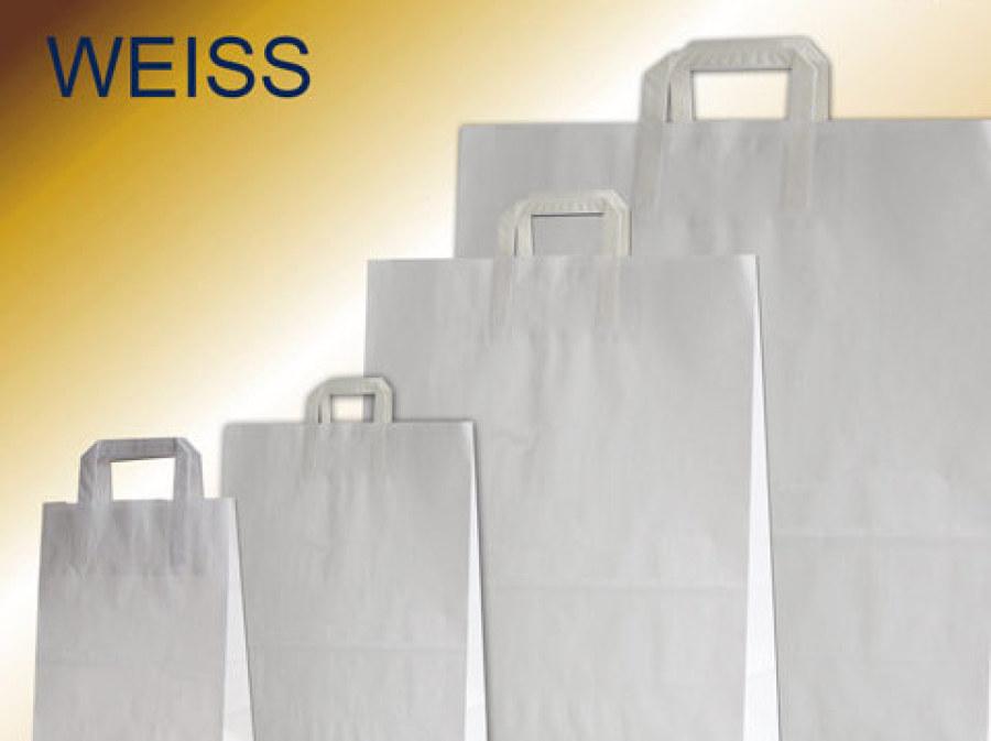 Papiertüten weiß mit gefalteten Papiergriffen in Taschenfarbe