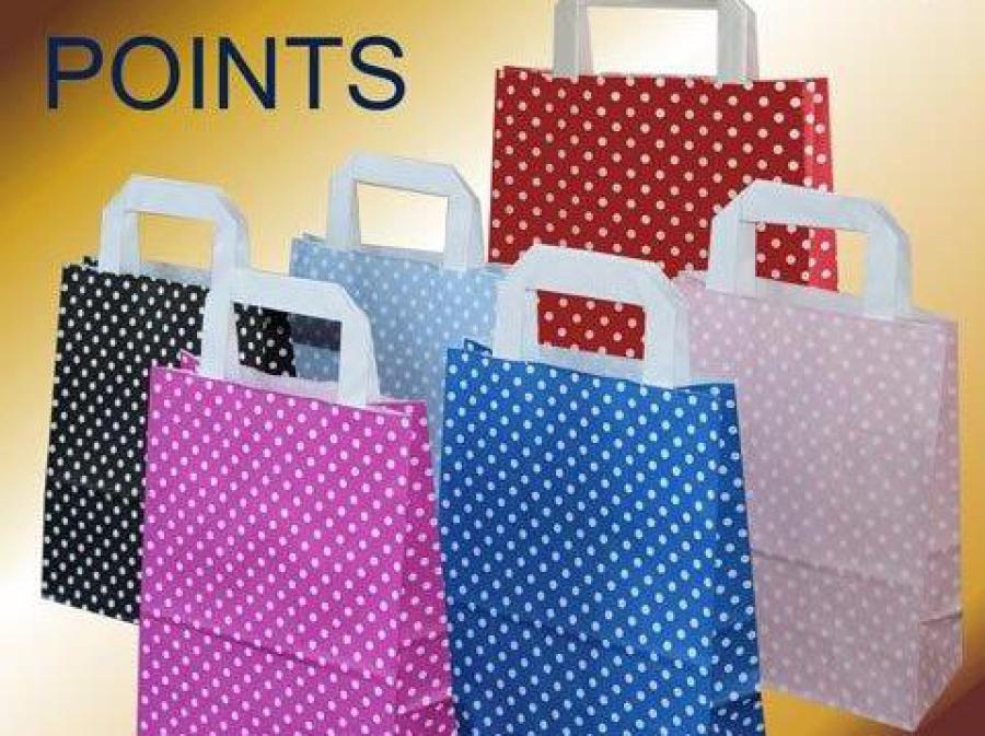 Papiertüten mit weißen Punkten in verschiedenen Farben wie rot schwarz hellblau blau rosa und pink mit weißen papiergriffen