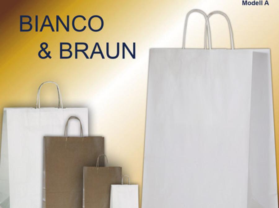 Papiertaschen weiß oder braun mit gedrehter Papierkordel