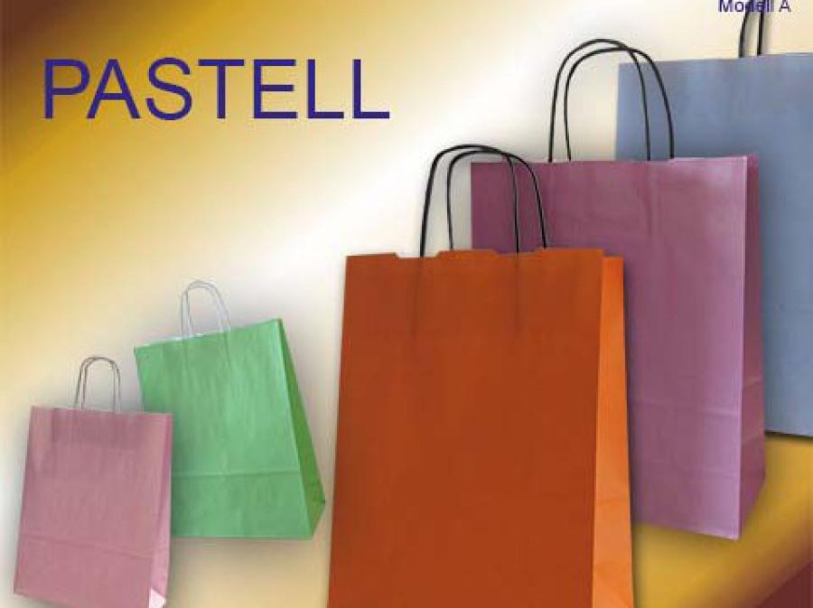 Papiertaschen mit Papierkordel in den Farben hellblau, rosa, pflaume, hellgrün und orange