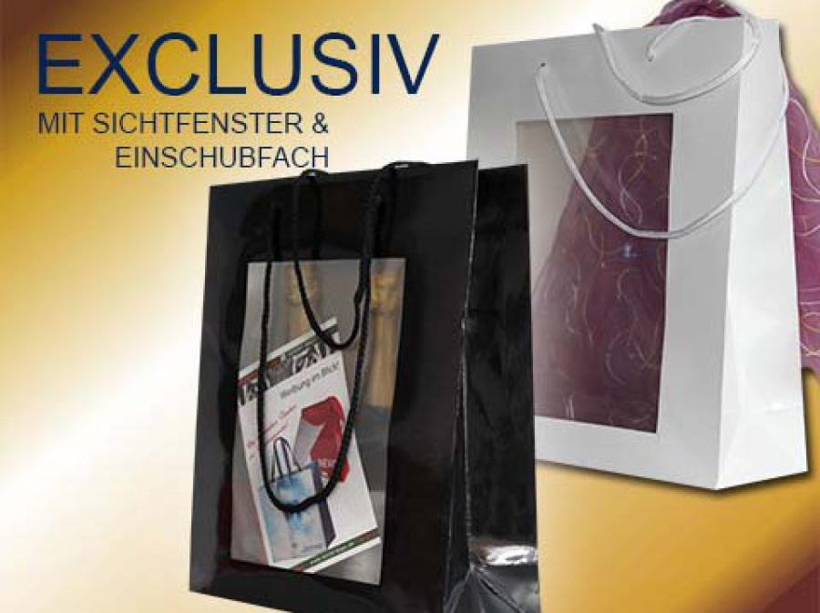 Papiertragetaschen in schwarz oder weiß mit kordeln und eingeklebtem Fenster als Sichtfenster