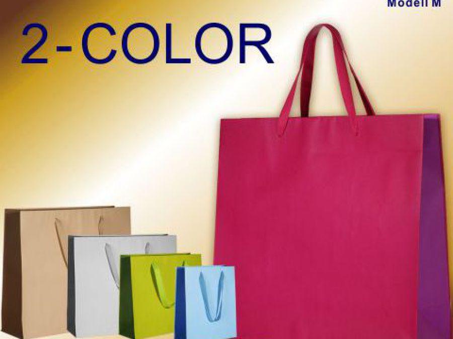 Papiertaschen mit Baumwollband in den Farben hellbau blau - hellgrün grün - hellgrau grau - beige braun von Leicht Verpackungen