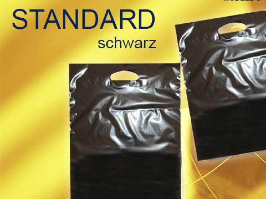 schwarze kunststofftaschen auch Plastiktüten oder Plastiktaschen genannt mit ausgestanztem Griffloch stanzgriff in Farbe schwarz