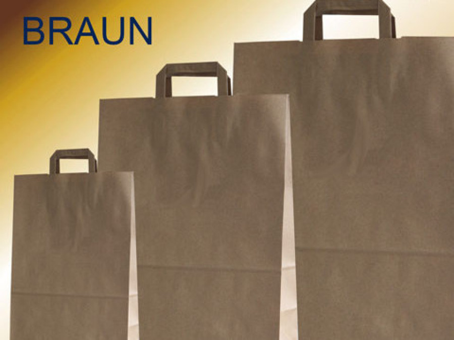 Papiertüten braun mit braunen Papiergriffen in verschiedenen größen kaufen