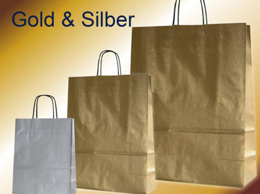 Papiertaschen gold oder silber mit Papierkordel in schwarz