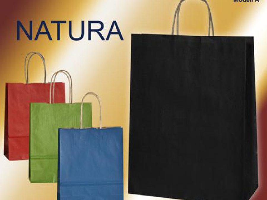 Papiertaschen mit Papierkordel in den Farben blau, grün, rot oder schwarz