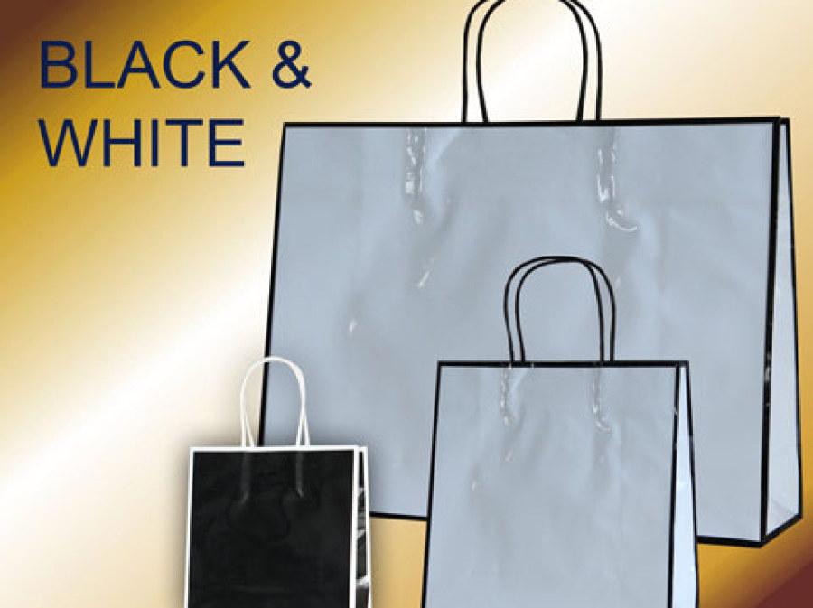 Papiertaschen lack in schwarz oder weiß mit gedrehten Papierkordeln und glanz Laminierung