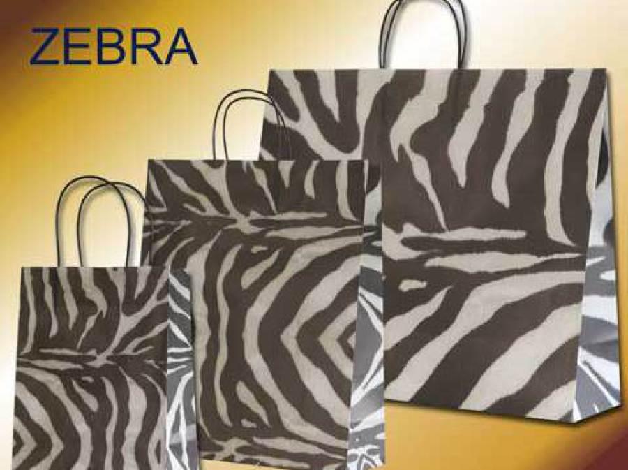Papiertragetaschen im Zebra Design mit schwarzen Papierkordeln